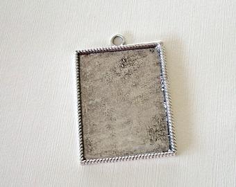 Rectangular Metal Pendant Add Beads, Cowhide, Bling