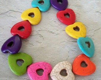 GIANT Multi Colored Heart Bead Cut Outs Strand