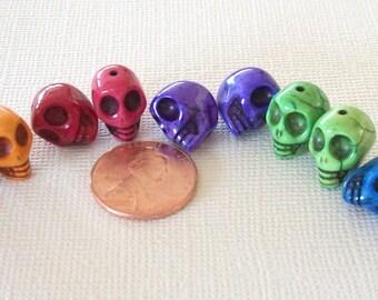 Pairs of Multi Colored Stone Skull Beads