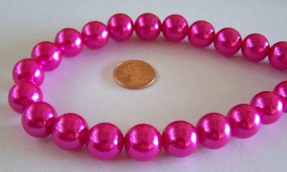 NEW ITEM Beautiful 12mm Hot Pink Acrylic Pearls