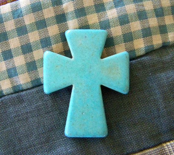 Large Turquoise Blue Howlite Cross
