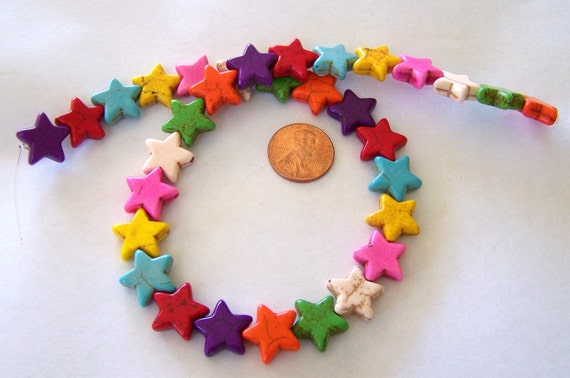 Starry Starry Night Little Multi Colored Stone Star Strand