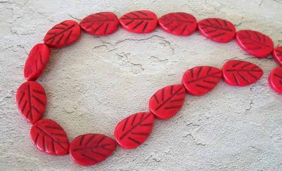 Bright Red Leaf Bead Strand
