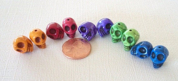 Pairs of Multi Colored Stone Skull Beads