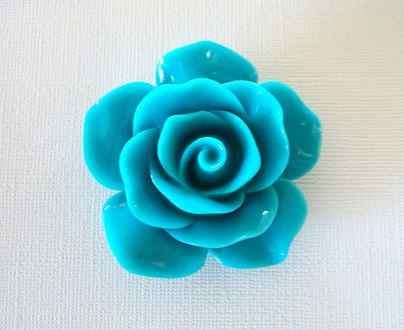 Big Daddy of All Acrylic Turquoise Colored Rose Beads Fabulous as Pendant or Accent on Bracelet
