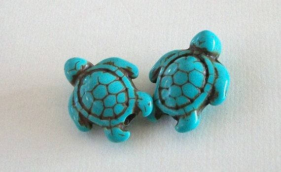 Tiny Turquoise Blue Magnasite Turtle Beads