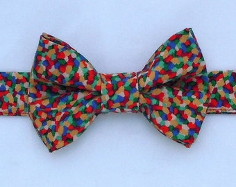 Festive Bow Tie Mosaic Confetti Multi Colors for Dog or Cat - Any Size