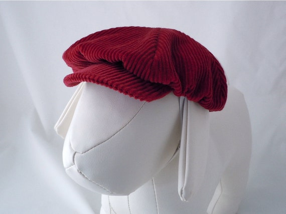 Newsboy Cap for Small Dog, Size Small, Bayberry Corduroy