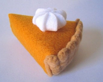 Felt Food Pumpkin pie set eco friendly children's play food for toy kitchen