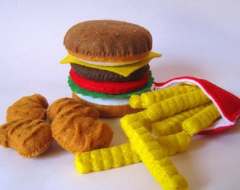 Felt Food Hamburger, french fries & chicken nuggets set eco friendly childrens pretend play food for toy kitchen