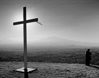 Cross Overlooking Valley in Mexico - Fine Art Photograph 5x7 8x10 11x14 16x20 24x30
