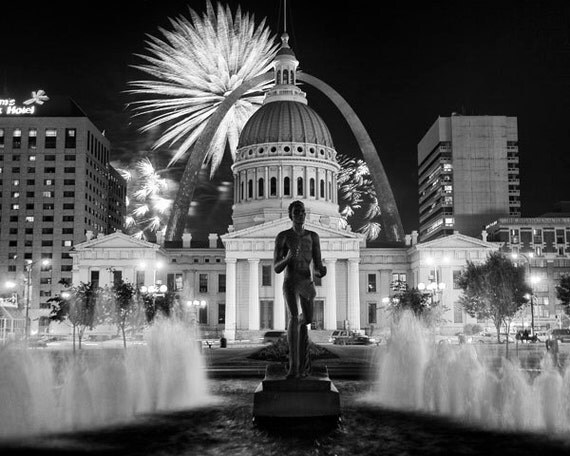 Fourth of July Fireworks in St Louis - Fine Art Photograph 5x7 8x10 11x14 16x20 24x30