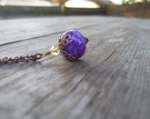 20% Coupon - Holiday Sale - Shiny Purple Fire Agate Pendant Necklace - Light and Summery