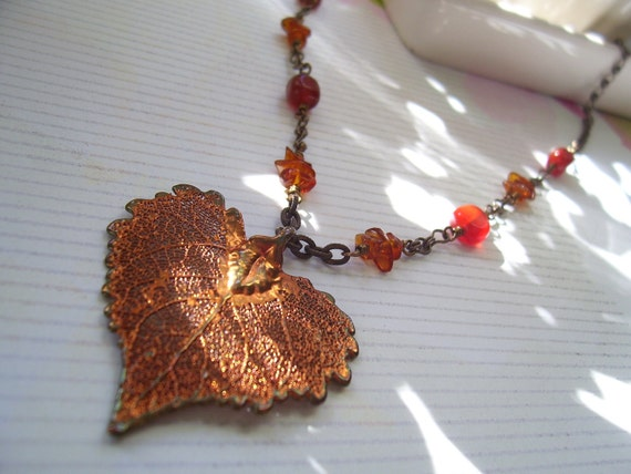 Copper Dipped Heart Shaped Leaf Pendant Necklace