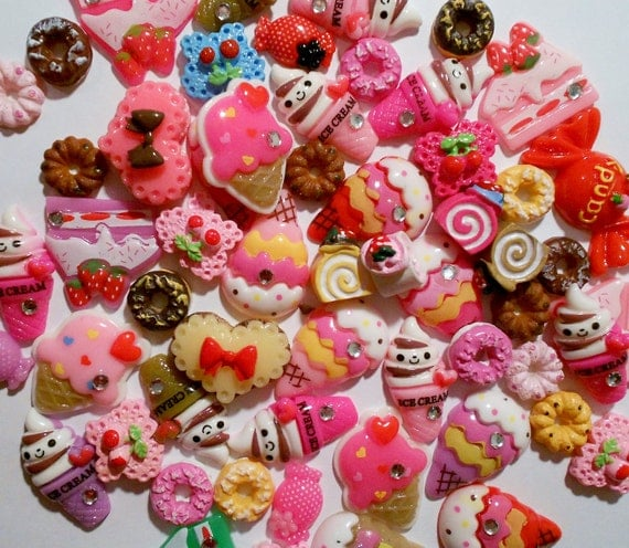 donut cabochon, Icecream flatback, Assorted  Sweets Cabochon Mix,  20 PIECES, Doughnut, resin, cookie