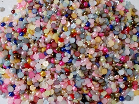 Tiny pearly dots destash resin flatback, embellishment (100 pieces)