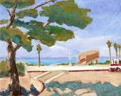 Original Acrylic Painting Impressionistic  Landscape Tree Sea  SFA