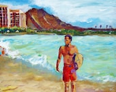 Original Acrylic Painting Impressionist Seascape Portrait