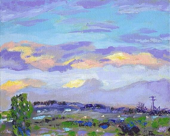 Original Painting Impressionist Landscape California Sky Sunrise OOAK SFA
