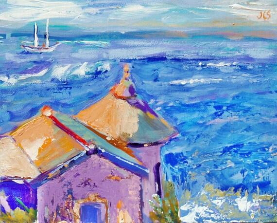 Original California Impressionist Seascape Ocean Acrylic