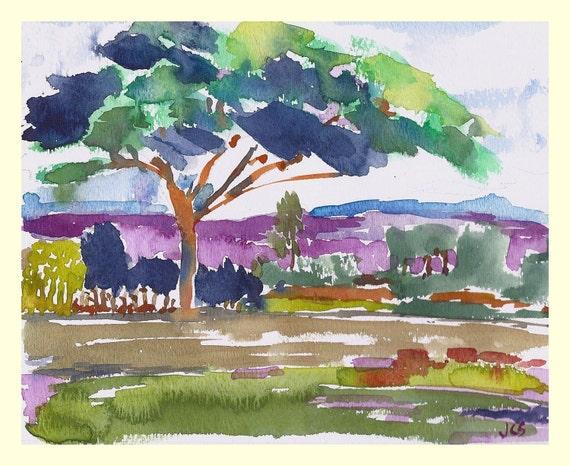 Original Watercolor Painting Tree Nature Kauai