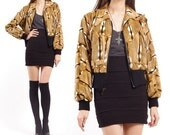 Vintage 70s Bomber Jacket - Animal Print Cropped Faux Fur Coat - XS / S / M