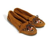 Vintage Moccasin Flats Minnetonka Brown Leather Beaded Fringe - ( 7 ) / ( 37.5 )