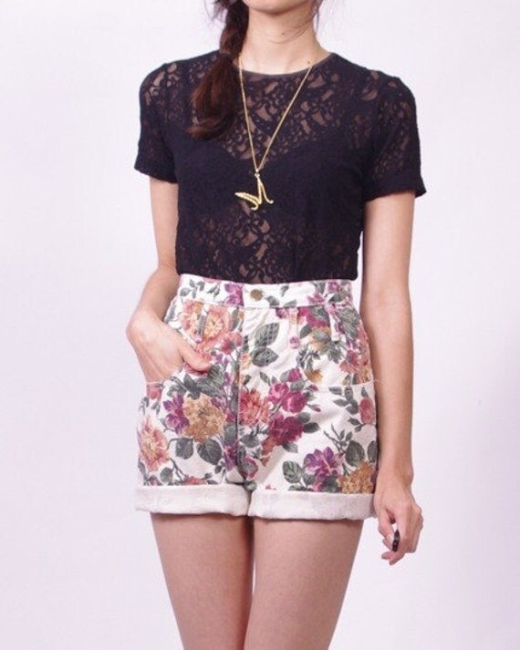 Vintage Grunge Floral Denim High Waist Jean Shorts