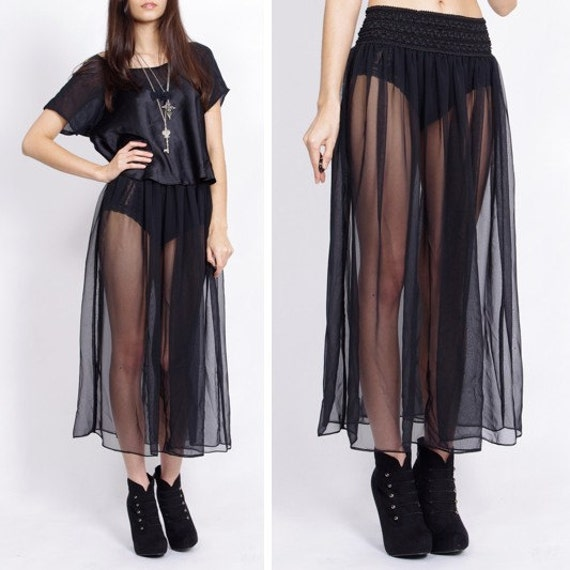 vintage sheer black maxi skirt xs s m