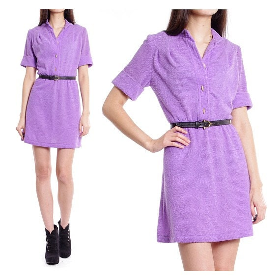 Vintage 60s 70s Dress - Mod High Waist Mini Lilac Dress - S / M