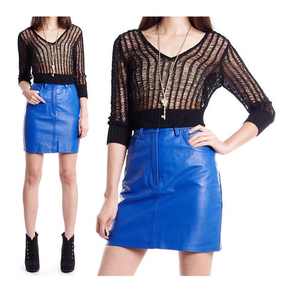 Vintage 80s Leather Skirt - Cobalt Blue High Waisted Skirt Pencil Mini - S / M