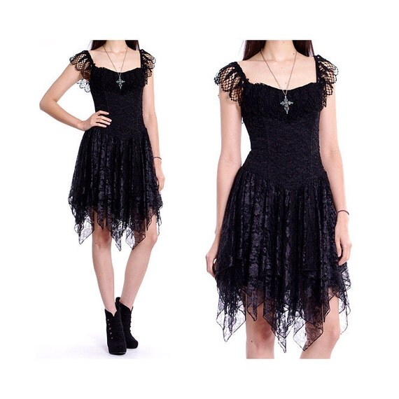 Vintage 80s Lace Dress - Black Sheer Crochet Bustier Ballerina Party Dress - M