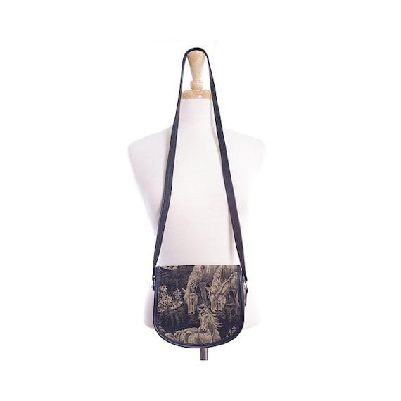 Vintage 80s Horse Purse - Novelty Horse Print Tapestry Shoulder Bag Purse