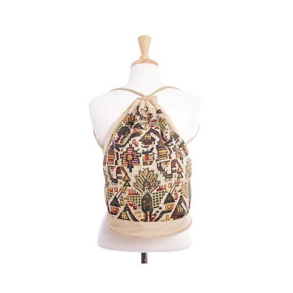 Vintage 70s Backpack - Aztec Embroidered Canvas Shoulder Bucket Bag