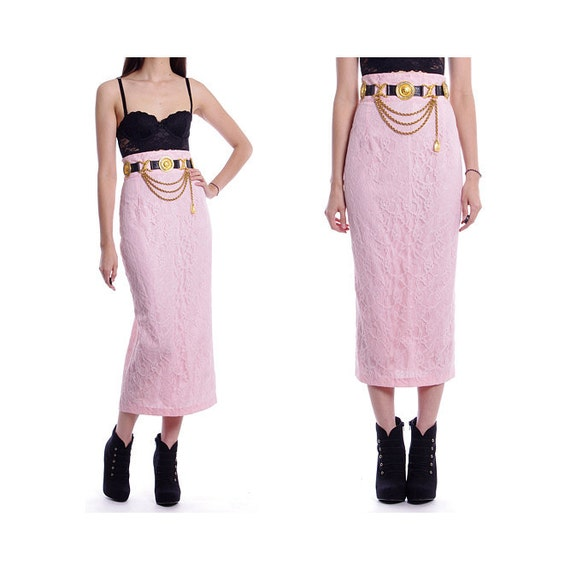 Vintage 70s 80s Skirt - High Waist Ankle Long Wiggle Pink Lace Skirt - S / M