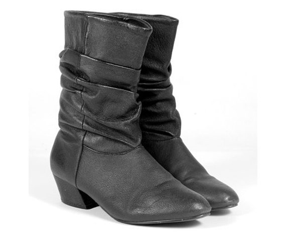 vintage black leather scrunch slouch pirate boots by