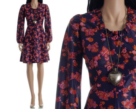 Vintage 60s Mod Dress - Butterfly Floral Mini Babydoll Dress - M