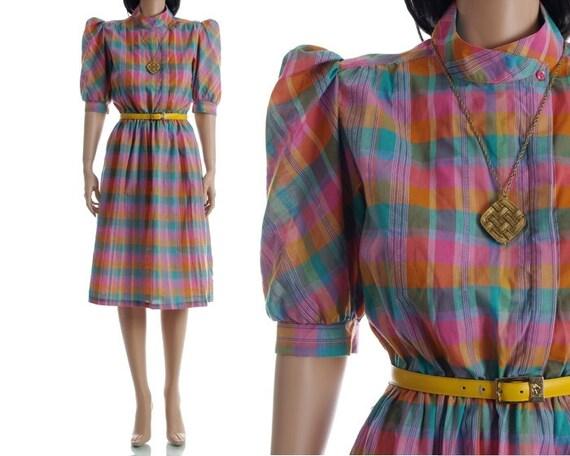 Vintage 70s Secretary Dress - Puff Sleeve Madras Plaid Dress - M