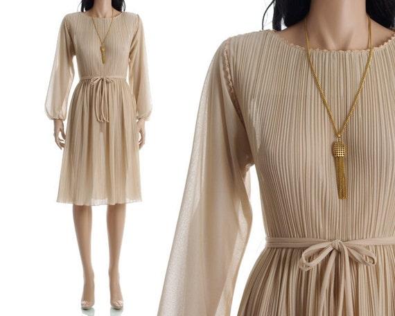 Vintage 70s Sheer Dress - Nude Goddess Pleated Dress - S / M