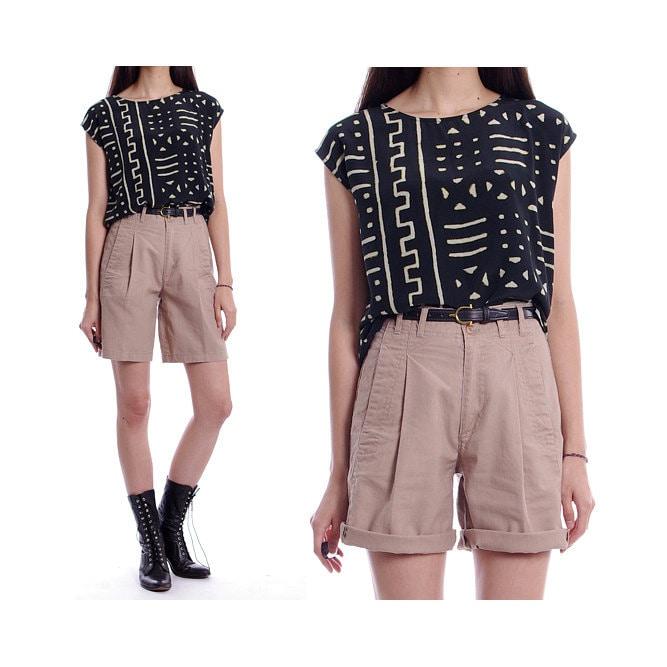 Vintage 80s 90s Shorts Khaki Safari High Waisted Shorts