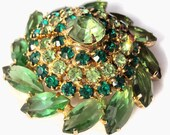 SALE Vintage Green Costume Jewelry Brooch -  Peridot Marquise Rhinestones - Unsigned JULIANA (D & E)