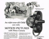 1927 Bell & Howell Co. Filmo Movie Camera Advertisement, Antique Original 1920's Ad, Full Page Black and White Advertisement