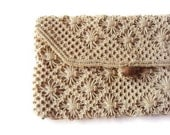"Vintage Crochet Clutch Purse, Cream Clutch Purse with Wooden Button, Bridal Accessory, The Perfect ""Something Old"" - YesterdaysSilhouette"