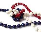 """Extra Long Red, White and Blue Necklace, Vintage Plastic Beaded Necklace, Fourth of July Patriotic Costume Jewelry Fashion Accessory, 48"""""""