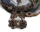 Sterling Silver Filigree Brooch, Handmade Filigree Flower Brooch, OOAK Antique Jewelry, Art Nouveau, Art Deco Double Flower Pin