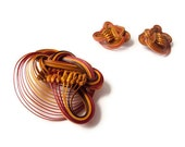 Vintage Knotted Bamboo Brooch and Earring Set, Swirl Pattern, Abstract Mid Century Jewelry