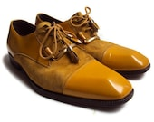 Vintage Emilio Franco Shoes, Mustard Yellow Patent Leather & Suede Shoes, Men's Designer Shoes, Genuine Leather/Suede, Made in Italy Size 10