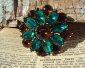 Vintage Green Costume Jewelry Brooch, Green and Brown Rhinestone Brooch, Floral, Flower Pin