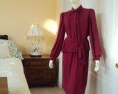 Vintage 70's Secretary Outfit, Women's Blouse and Skirt Set, Small Medium Size 7/8,  Fushia / Maroon / Pink - YesterdaysSilhouette