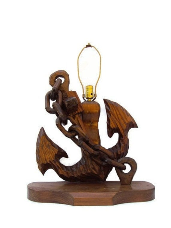 Vintage Nautical Anchor Lamp, Wooden Lamp, Carved Wood Anchor and Chain, Mad Men Era Home Decor, Working Condition